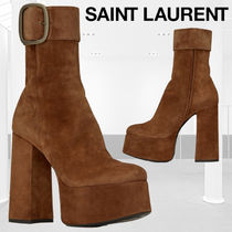 Saint Laurent Platform Round Toe Casual Style Suede Plain Dark Brown