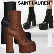 Saint Laurent Platform Round Toe Casual Style Plain Leather