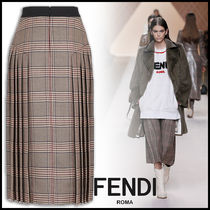 FENDI Other Check Patterns Wool Pleated Skirts Medium