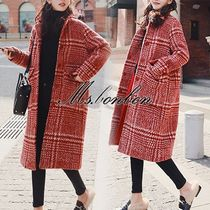 Glen Patterns Casual Style Medium Wrap Coats