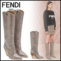 FENDI Other Check Patterns Cowboy Boots Block Heels Elegant Style