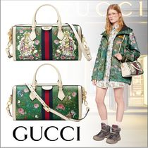 GUCCI Flower Patterns Canvas Other Animal Patterns Handbags