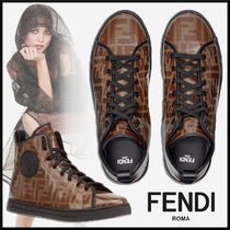 FENDI Monogram Round Toe Rubber Sole Elegant Style