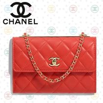 CHANEL Lambskin Chain Plain Party Style Shoulder Bags