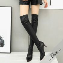 Casual Style Faux Fur Plain Pin Heels Over-the-Knee Boots