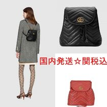 6708d2703c1f GUCCI GG Marmont Casual Style Street Style Bi-color Plain Backpacks
