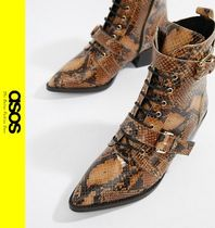 ASOS Casual Style Leather Block Heels Python