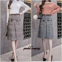Flared Skirts Tartan Medium Elegant Style Midi Skirts
