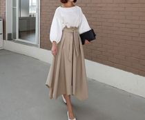 COCO Flared Skirts Casual Style Plain Long Oversized Maxi Skirts