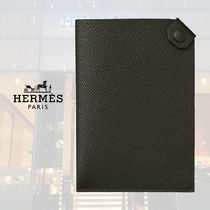 HERMES Unisex Blended Fabrics Street Style Plain Leather