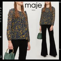 maje Crew Neck Casual Style Chiffon Bi-color Long Sleeves Medium