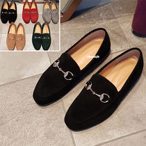 Plain Toe Casual Style Suede Plain Loafer Pumps & Mules