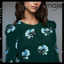 maje Crew Neck Flower Patterns Casual Style Silk Puffed Sleeves