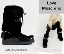 Love Moschino Round Toe Lace-up Casual Style Faux Fur Chunky Heels