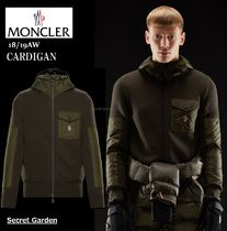 MONCLER CARDIGAN Wool Blended Fabrics Long Sleeves Plain Cardigans