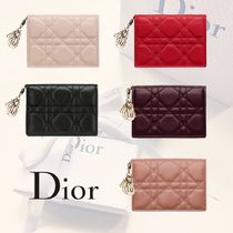 Christian Dior LADY DIOR Lambskin Plain Card Holders