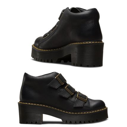 Dr Martens Ankle & Booties Platform Round Toe Plain Leather Ankle & Booties Boots 2