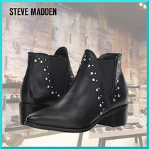 Steve Madden Casual Style Studded Plain Leather Block Heels Chelsea Boots