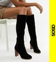 ASOS Casual Style Suede Block Heels Over-the-Knee Boots