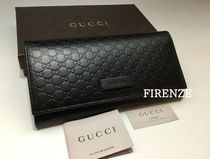 GUCCI Unisex Leather Logo Long Wallets