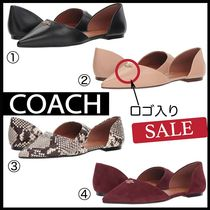 Coach Plain Leather Python Elegant Style Pointed Toe Shoes
