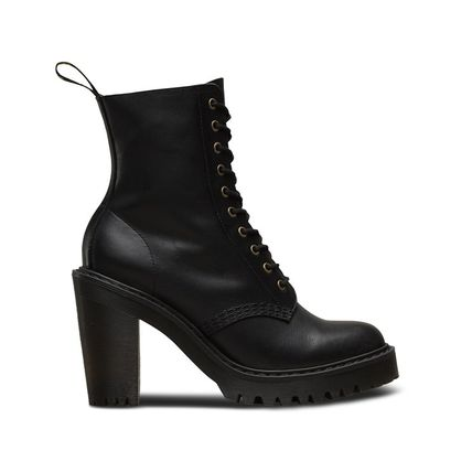 Plain Toe Lace-up Plain Leather Block Heels Lace-up Boots