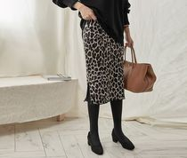 TOM&RABBIT Pencil Skirts Leopard Patterns Casual Style Long Maxi Skirts