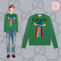 GUCCI Crew Neck Pullovers Wool Street Style Long Sleeves Plain