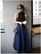 Flared Skirts Casual Style Denim Long Maxi Skirts