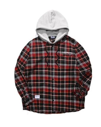 PUNCHLINE Shirts Other Check Patterns Street Style Long Sleeves Cotton 15