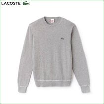 LACOSTE Crew Neck Long Sleeves Plain Cotton Knits & Sweaters