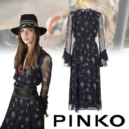 Flower Patterns Maxi Nylon Long Sleeves Medium Dresses