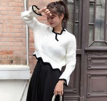 Cable Knit Puffed Sleeves V-Neck Bi-color Plain Medium