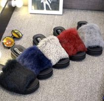 Platform Casual Style Faux Fur Slippers