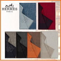 HERMES Cashmere Blended Fabrics Fringes Accessories