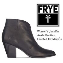 FRYE Round Toe Plain Leather Block Heels Elegant Style