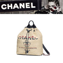 CHANEL DEAUVILLE Canvas 2WAY Chain Backpacks