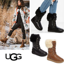 UGG Australia Lace-up Casual Style Blended Fabrics Street Style Leather
