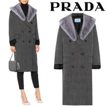 PRADA Other Check Patterns Wool Blended Fabrics Long Oversized