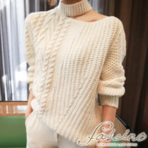 Cable Knit Casual Style Rib Long Sleeves Plain Medium