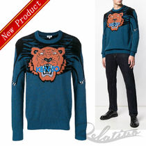 KENZO Crew Neck Street Style Long Sleeves Other Animal Patterns