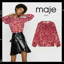 maje Crew Neck Dots Casual Style Chiffon Bi-color Long Sleeves