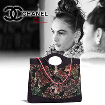CHANEL Flower Patterns Calfskin 3WAY Elegant Style Handbags