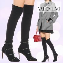 VALENTINO Studded Plain Leather Pin Heels Over-the-Knee Boots
