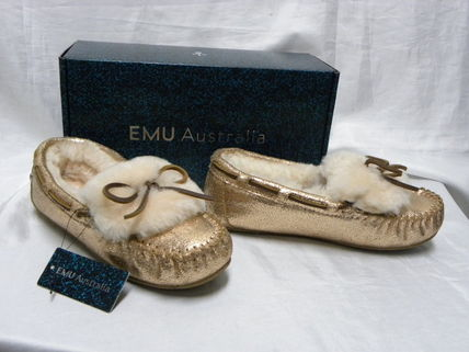 Moccasin Rubber Sole Casual Style Fur Flats