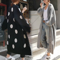 Dots Casual Style V-Neck Long Sleeves Long Cardigans