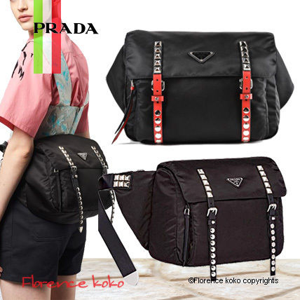 Casual Style Nylon Blended Fabrics Studded Plain Bags