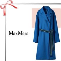 SPORT MAX Cashmere Plain Long Office Style Wrap Coats