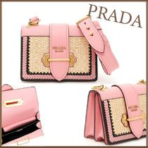 PRADA CAHIER Unisex Street Style Bag in Bag Plain Leather Party Style