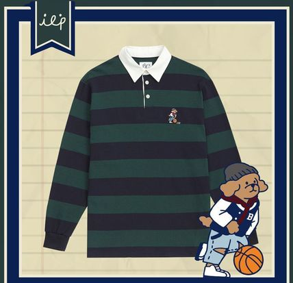 Stripes Unisex Street Style Long Sleeves Cotton Polos